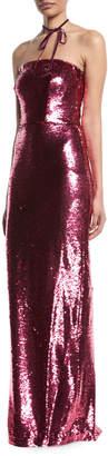 Monique Lhuillier Strapless Sequin Slim Column Evening Gown