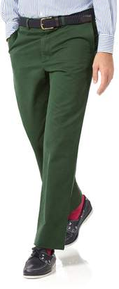 Charles Tyrwhitt Green Classic Fit Flat Front Washed Cotton Chino Pants Size W34 L30