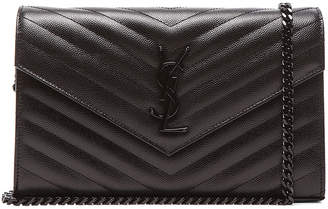 Saint Laurent Monogramme Chain Wallet in Black & Black | FWRD