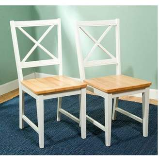 TMS Virginia Cross-Back Chair, Set of 2, White/Natural