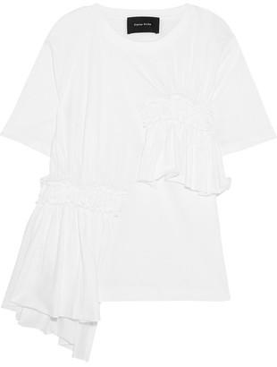 Simone Rocha Ruffled Cotton-jersey T-shirt - White