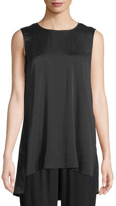 Eileen Fisher Silk Charmeuse High-Low Tank