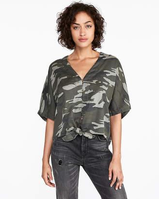 Express Camo Short Sleeve Tie Front Shirt