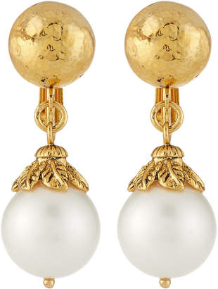 Jose & Maria Barrera Pearly Clip-On Drop Earrings