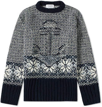 Thom Browne Anchor Fair Isle Jacquard Crew Knit