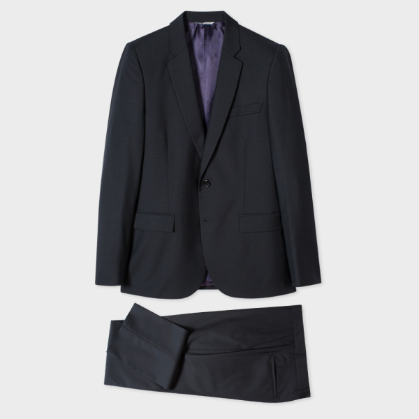 Paul SmithMen's Mid-Fit Black Wool And Mohair-Blend Suit