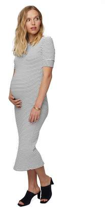 Rib Noelle Dress - Black / White Stripe, Maternity