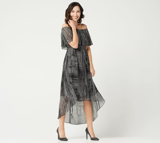 Halston H By H by Petite Convertible Pleated Hi-Low Hem Maxi Dress
