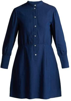 A.p.c. - Kimya Long Sleeve Midi Dress - Womens - Indigo