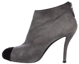 Chanel Suede Cap-Toe Boots