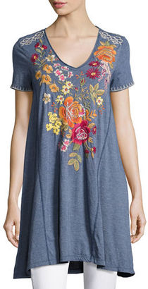 JWLA For Johnny Was Karlotta Embroidered Drape Tunic-Length Tee, Plus Size $170 thestylecure.com