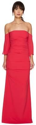 Nicole Miller Techy Crepe Pleated Sleeves Gown Women's Dress
