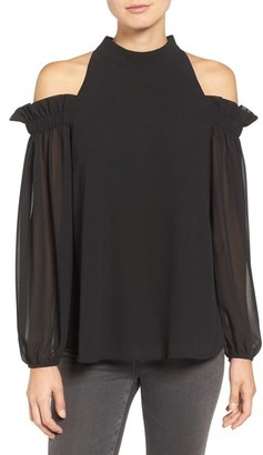 Women's Trouve Ruffle Cold Shoulder Top $79 thestylecure.com
