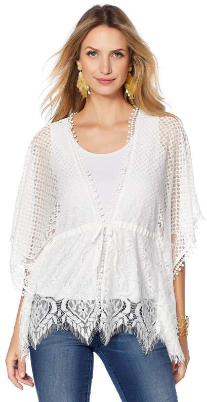 Colleen Lopez Collection Colleen Lopez Classic Contributor Lace Kimono Topper
