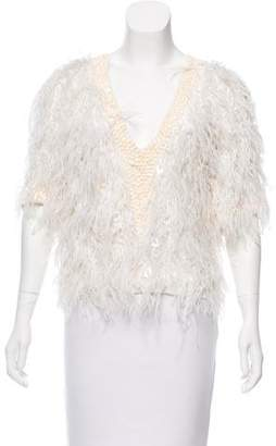 Elie Saab Feather-Trimmed Georgette Top
