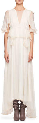 Chloé High-Neck Flutter-Sleeve Evening Gown w/ Scalloped Edges