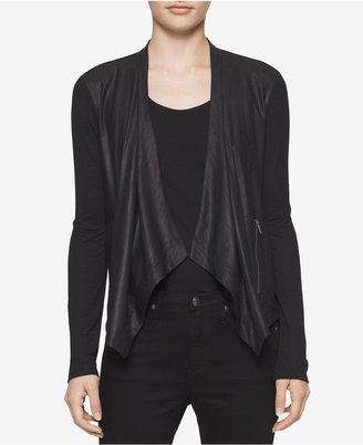 Calvin Klein Jeans Draped Faux-Leather Cardigan $64.50 thestylecure.com