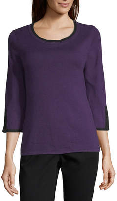 Liz Claiborne 3/4 Sleeve Scoop Neck Pullover Sweater