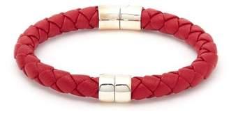 Bottega Veneta Single Intrecciato Woven Leather Bracelet - Mens - Red
