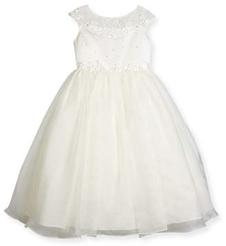 Joan Calabrese Beaded Satin & Organza Special Occasion Dress, White, Size 7-14