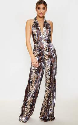 ee59ed04b7 PrettyLittleThing Brown Satin Leopard Chain Print Ring Detail Jumpsuit