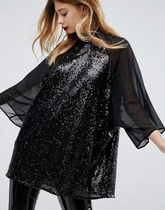 Asos Design Sheer and Sequin Kimono T-Shirt