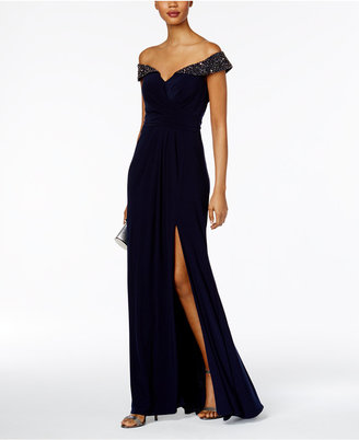 XSCAPE Rhinestone Off-The-Shoulder Gown $229 thestylecure.com
