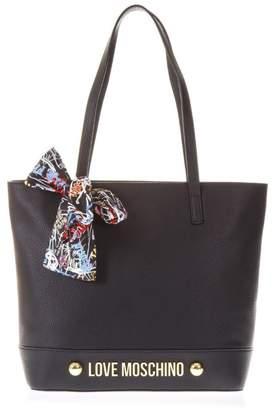 Love Moschino Black Handbag With Scarf Detail