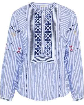 Joie Archana Embroidered Striped Cotton-Gauze Blouse