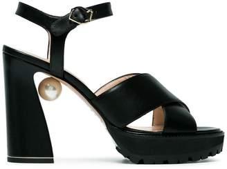 Nicholas Kirkwood Black Annabel Pearl 105 sandals