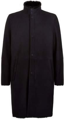 Emporio Armani Shearling Lined Suede Coat