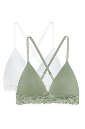 H&M 2-pack Soft-cup Push-up Bras - Black/beige - Women