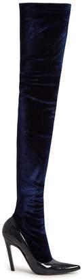 Balenciaga Boudoir over-the-knee velvet and leather boots