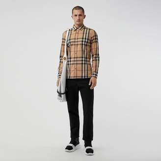 Burberry Check Stretch Cotton Shirt , Size: XXXL, Brown
