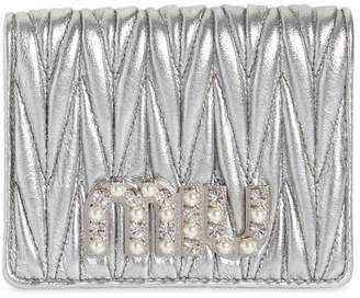 Miu Miu Embellished Miu Quilted Leather Wallet