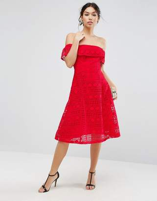 Asos Design Lace Off Shoulder Midi Dress
