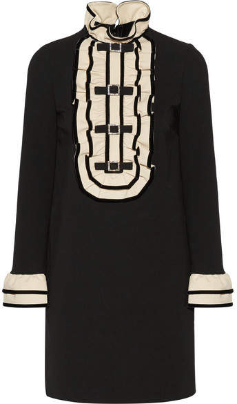 Gucci - Embellished Ruffled Stretch-cady Mini Dress - Black