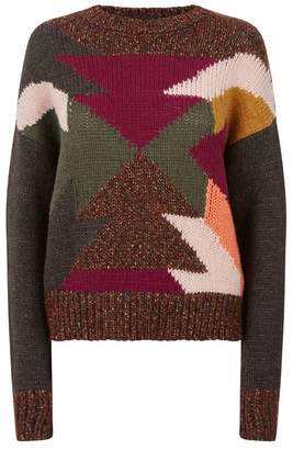 SET Patchwork Wool Sweater