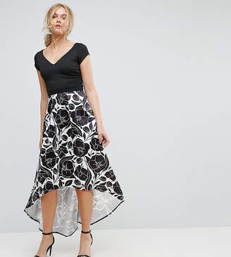 City Goddess Tall Hi Lo Midi Prom Dress With Floral Print Skirt
