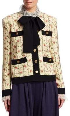 Gucci Floral Pocket-Detail Tie-Neck Jacket