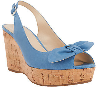 Franco Sarto Leather Sling-back Peep-toe Wedges - Vassi $33.73 thestylecure.com