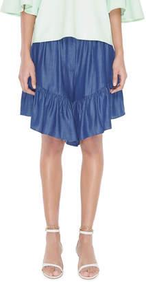 Tibi Dark Indigo Drape Ruffle Shorts