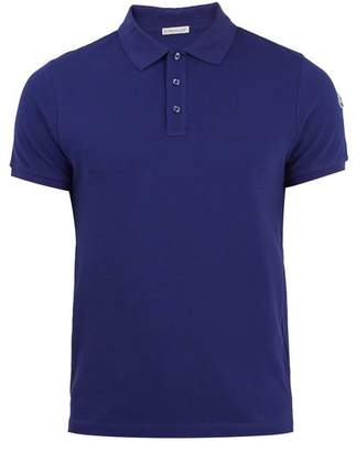 Moncler Logo Applique Cotton Pique Polo Shirt - Mens - Blue