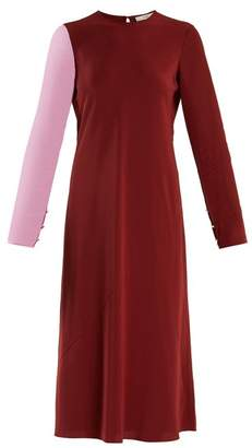 Tibi Bi Colour Contrast Sleeve Silk Georgette Dress - Womens - Burgundy