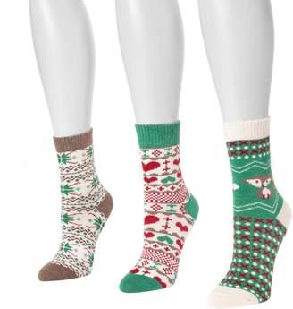 Muk Luks Women's 3-Pair Pack Holiday Boot Socks
