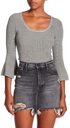 A.L.C. Stripe Bell Sleeve Wool Blend Crop Top