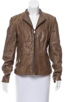 Andrew Marc Leather Zip-Up Jacket