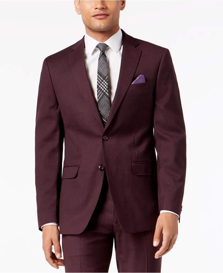 Sean John Men's Slim-Fit Stretch Burgundy Sharkskin Suit Jacket