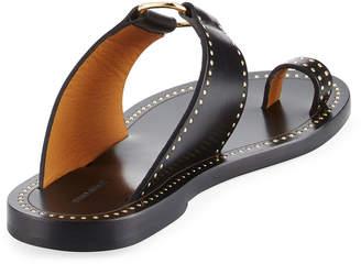 Isabel Marant Jeppy Flat Studded Leather Sandals, Black/Dore