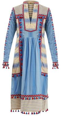 Dodo Bar Or - Stephanie Embroidered Striped Cotton Dress - Womens - Blue Multi